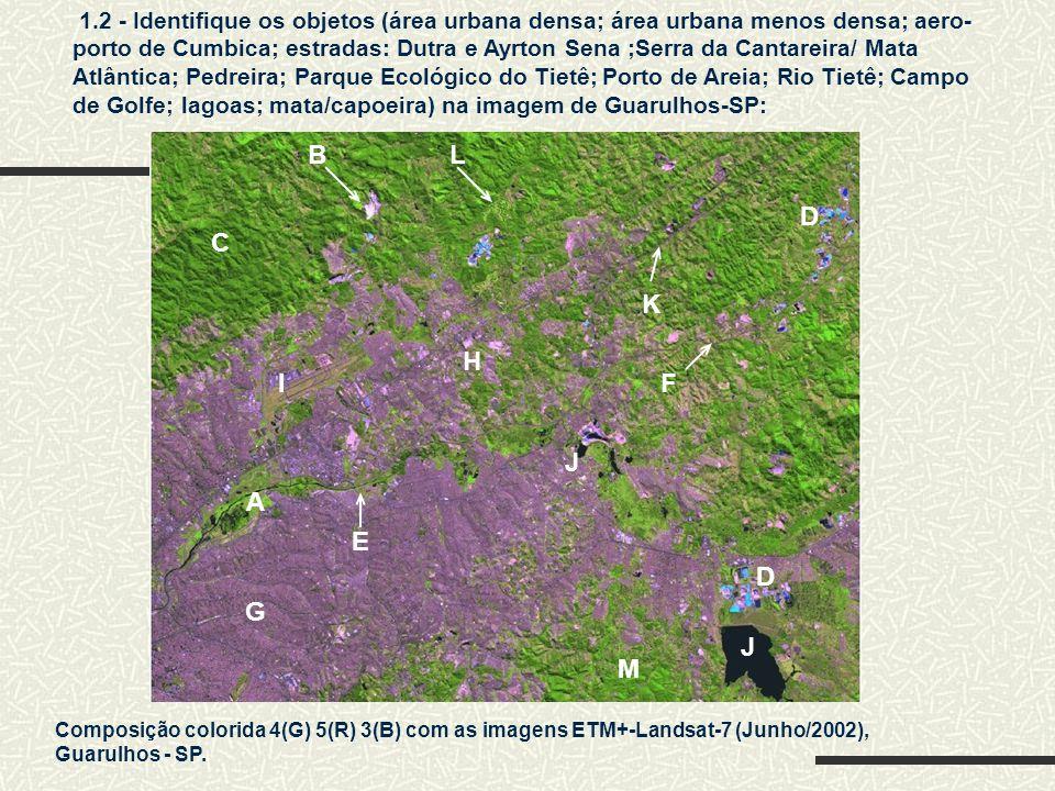 G 1.2 - Identifique os objetos (área urbana densa; área urbana menos densa; aero- porto de Cumbica; estradas: Dutra e Ayrton Sena ;Serra da Cantareira/ Mata Atlântica; Pedreira; Parque Ecológico do Tietê; Porto de Areia; Rio Tietê; Campo de Golfe; lagoas; mata/capoeira) na imagem de Guarulhos-SP: Composição colorida 4(G) 5(R) 3(B) com as imagens ETM+-Landsat-7 (Junho/2002), Guarulhos - SP.