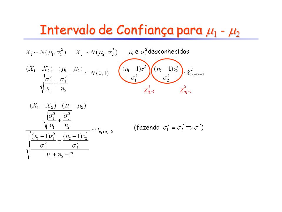 Intervalo de Confiança para 1 - 2 e desconhecidas (fazendo)