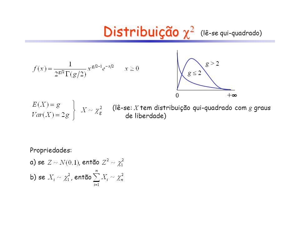 Distribuição 2 (lê-se qui-quadrado) (lê-se: X tem distribuição qui-quadrado com g graus de liberdade) 0 + g 2 0 + g > 2 Propriedades: a) se, então b)