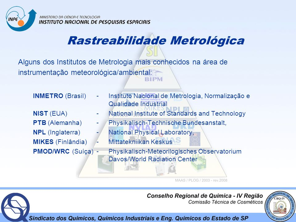 Rastreabilidade Metrológica Alguns dos Institutos de Metrologia mais conhecidos na área de instrumentação meteorológica/ambiental: INMETRO (Brasil) -Instituto Nacional de Metrologia, Normalização e Qualidade Industrial NIST (EUA) -National Institute of Standards and Technology PTB (Alemanha) -Physikalisch-Technische Bundesanstalt, NPL (Inglaterra) -National Physical Laboratory, MIKES (Finlândia) - Mittatekniikan Keskus PMOD/WRC (Suíça) - Physikalisch-Meteorilogisches Observatorium Davos/World Radiation Center