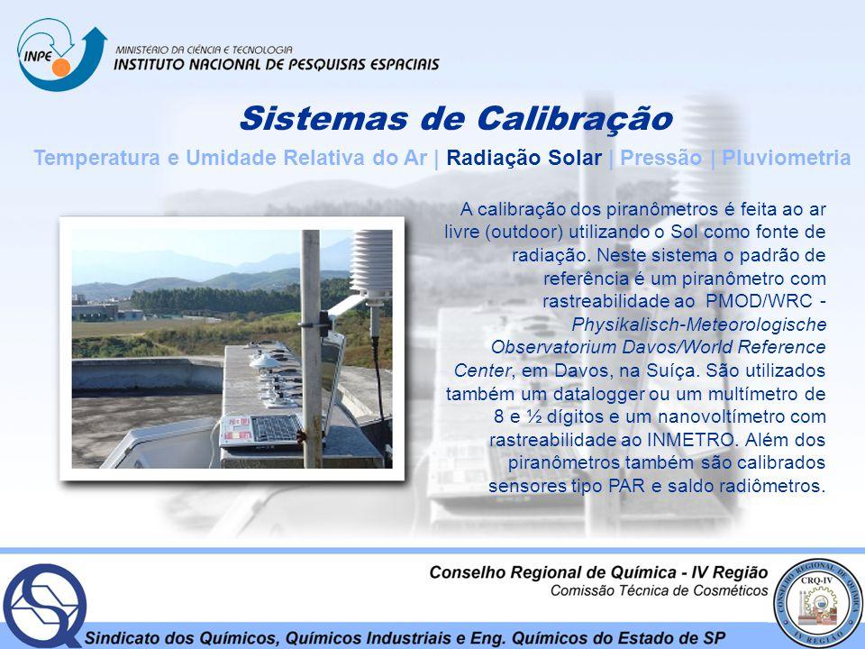 Sistemas de Calibração Temperatura e Umidade Relativa do Ar | Radiação Solar | Pressão | Pluviometria A calibração dos piranômetros é feita ao ar livr