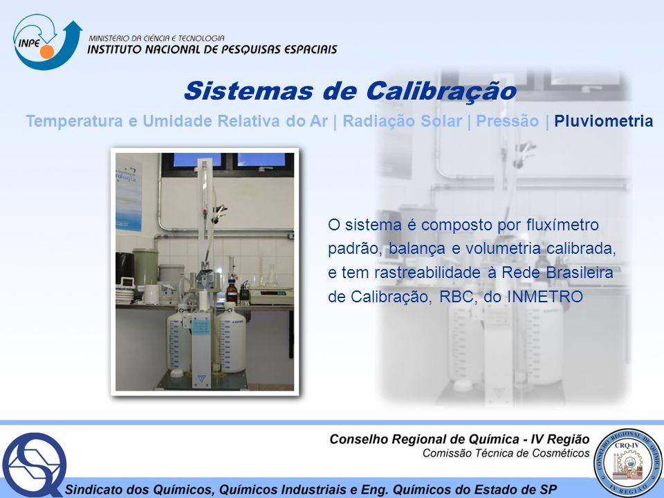 Sistemas de Calibração Temperatura e Umidade Relativa do Ar | Radiação Solar | Pressão | Pluviometria O sistema é composto por fluxímetro padrão, bala