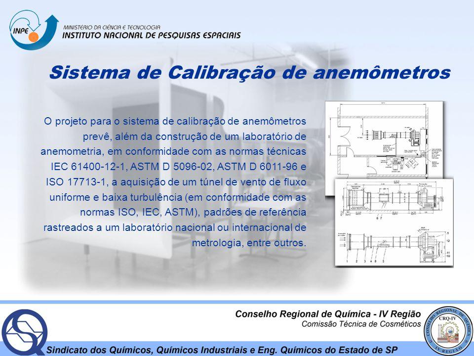 Sistema de Calibração de anemômetros O projeto para o sistema de calibração de anemômetros prevê, além da construção de um laboratório de anemometria,