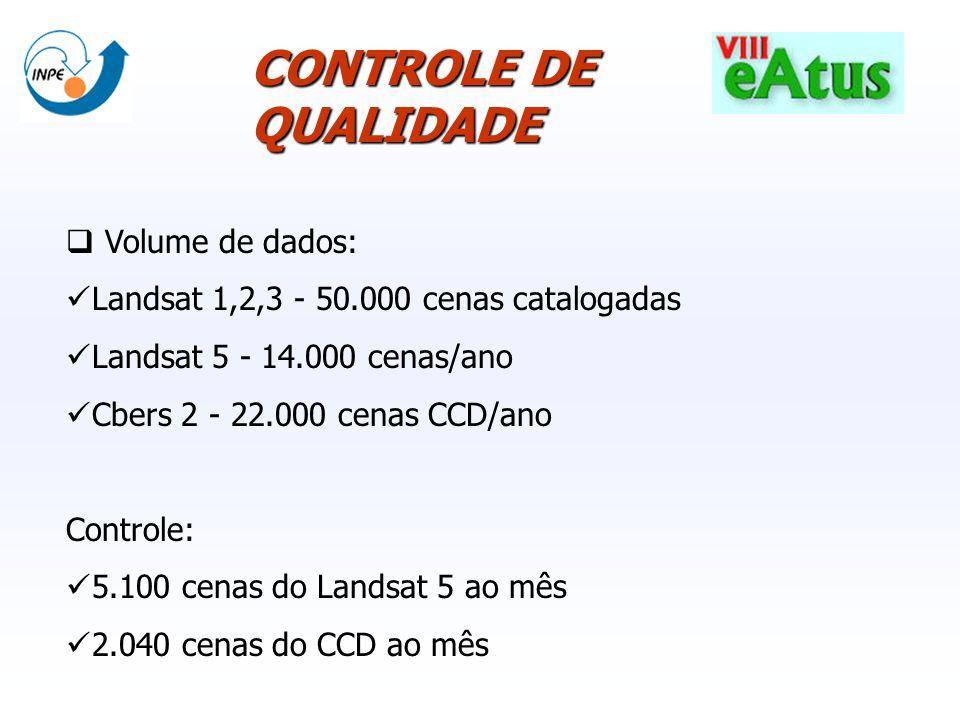 Volume de dados: Landsat 1,2,3 - 50.000 cenas catalogadas Landsat 5 - 14.000 cenas/ano Cbers 2 - 22.000 cenas CCD/ano Controle: 5.100 cenas do Landsat