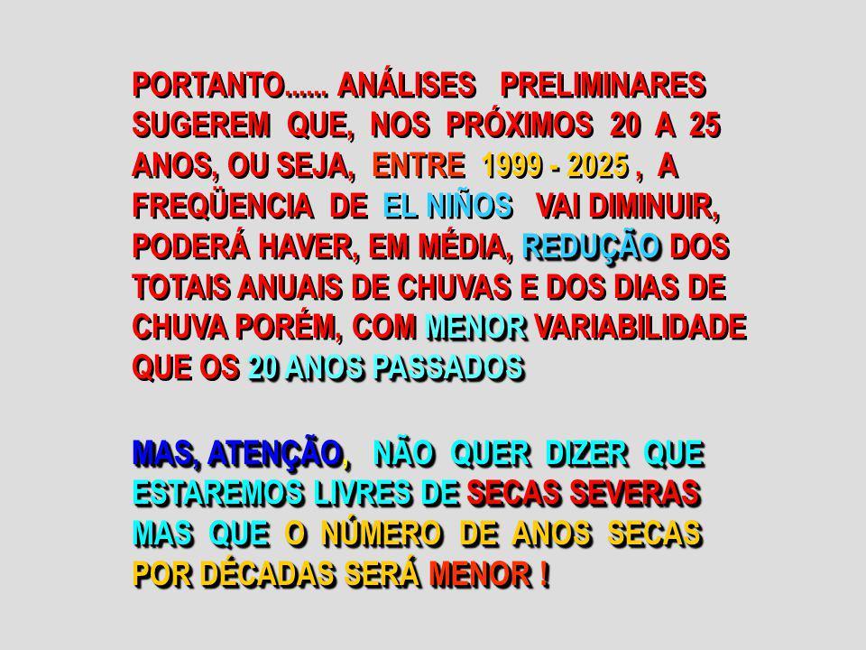REDUÇÃO MENOR 20 ANOS PASSADOS PORTANTO...... ANÁLISES PRELIMINARES SUGEREM QUE, NOS PRÓXIMOS 20 A 25 ANOS, OU SEJA, ENTRE 1999 - 2025, A FREQÜENCIA D