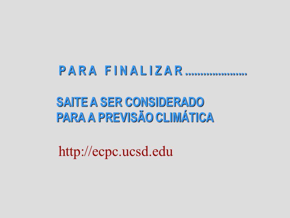P A R A F I N A L I Z A R..................... SAITE A SER CONSIDERADO PARA A PREVISÃO CLIMÁTICA http://ecpc.ucsd.edu