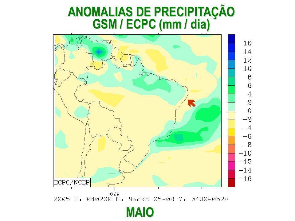 MAIO ANOMALIAS DE PRECIPITAÇÃO GSM / ECPC (mm / dia)