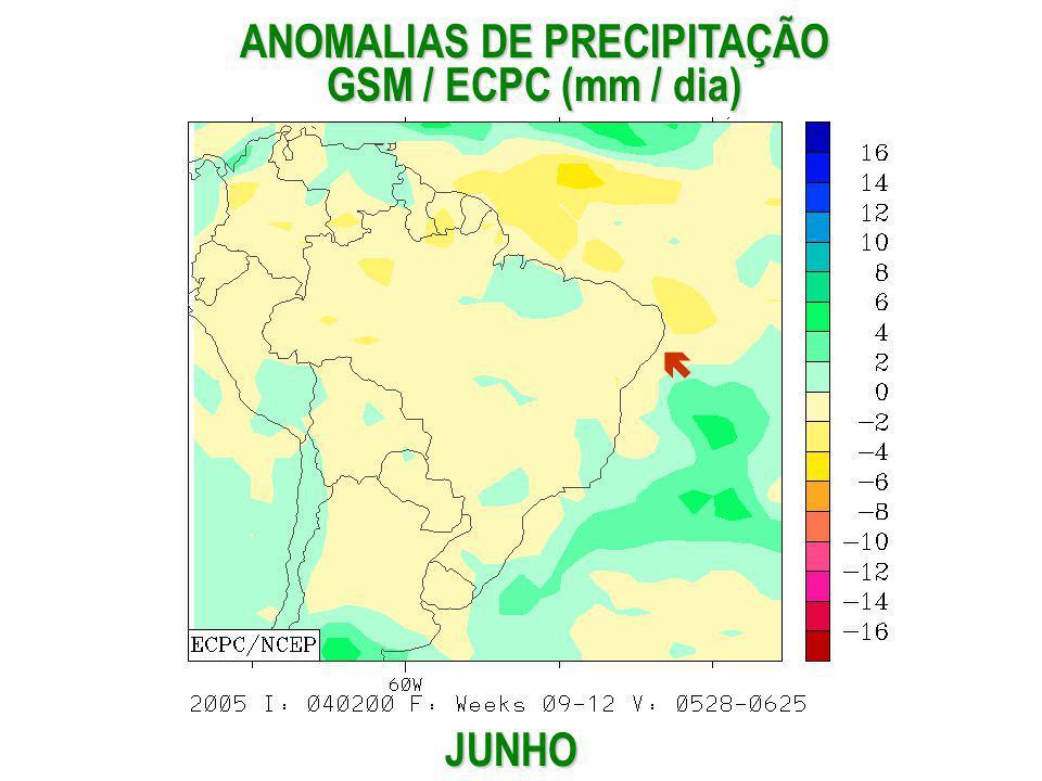 JUNHO ANOMALIAS DE PRECIPITAÇÃO GSM / ECPC (mm / dia)