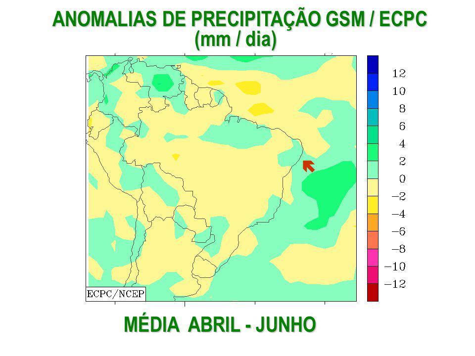 MÉDIA ABRIL - JUNHO ANOMALIAS DE PRECIPITAÇÃO GSM / ECPC (mm / dia) ANOMALIAS DE PRECIPITAÇÃO GSM / ECPC (mm / dia)