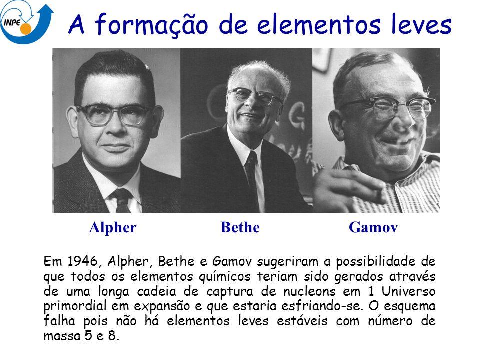 Em 1946, Alpher, Bethe e Gamov sugeriram a possibilidade de que todos os elementos químicos teriam sido gerados através de uma longa cadeia de captura