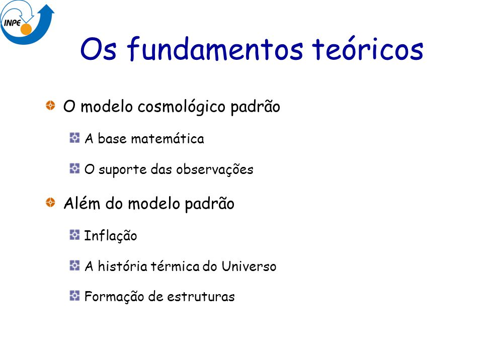 Os fundamentos teóricos O modelo cosmológico padrão A base matemática O suporte das observações Além do modelo padrão Inflação A história térmica do U