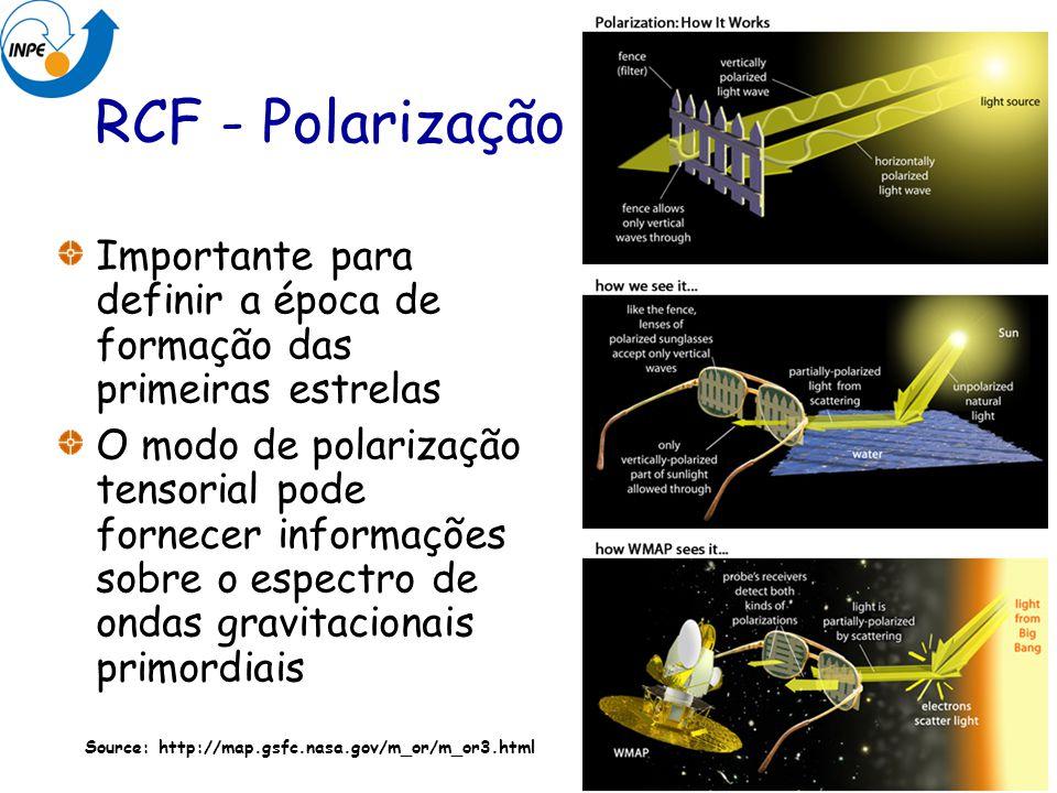 RCF - Polarização Importante para definir a época de formação das primeiras estrelas O modo de polarização tensorial pode fornecer informações sobre o