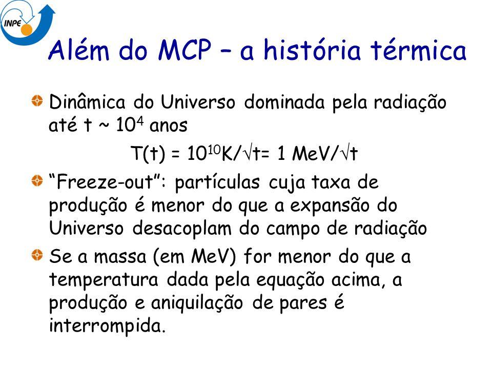 Além do MCP – a história térmica Dinâmica do Universo dominada pela radiação até t ~ 10 4 anos T(t) = 10 10 K/ t= 1 MeV/ t Freeze-out: partículas cuja