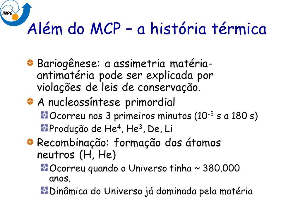 Além do MCP – a história térmica Bariogênese: a assimetria matéria- antimatéria pode ser explicada por violações de leis de conservação. A nucleossínt