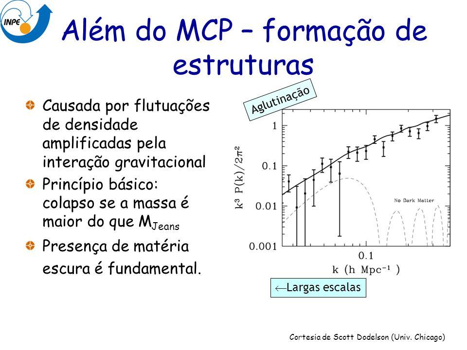 Além do MCP – formação de estruturas Causada por flutuações de densidade amplificadas pela interação gravitacional Princípio básico: colapso se a mass