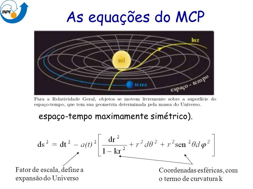 As equações do MCP Métrica de Robertson-Walker (define um espaço-tempo maximamente simétrico). Fator de escala, define a expansão do Universo Coordena
