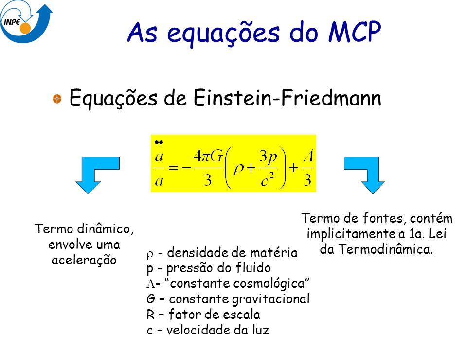 Equações de Einstein-Friedmann Termo dinâmico, envolve uma aceleração Termo de fontes, contém implicitamente a 1a. Lei da Termodinâmica. As equações d