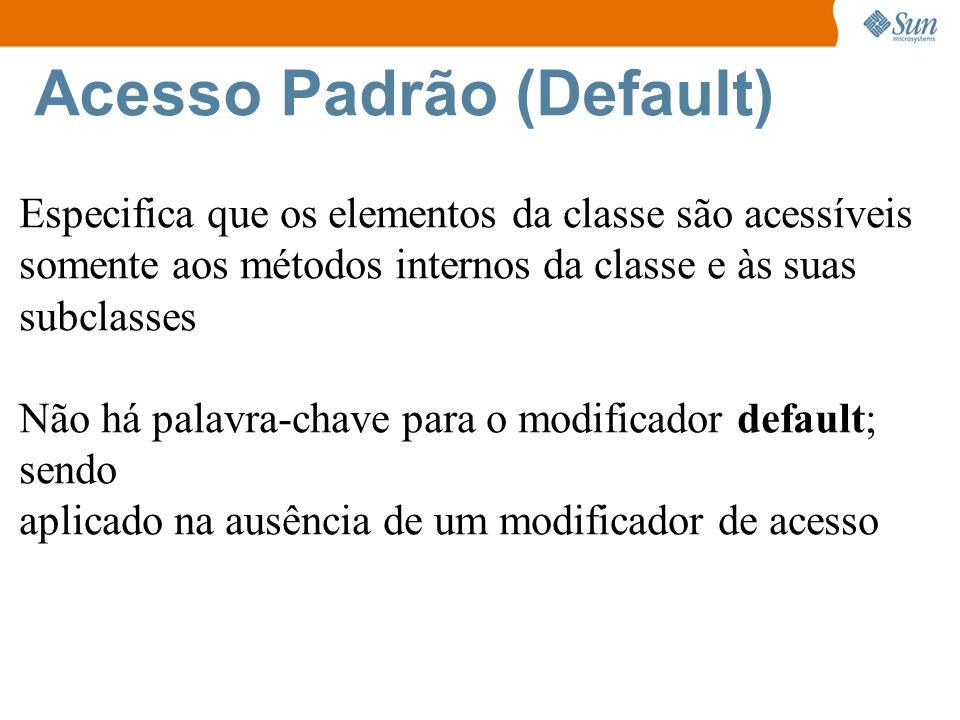 Acesso Padrão (Default) Especifica que os elementos da classe são acessíveis somente aos métodos internos da classe e às suas subclasses Não há palavra-chave para o modificador default; sendo aplicado na ausência de um modificador de acesso