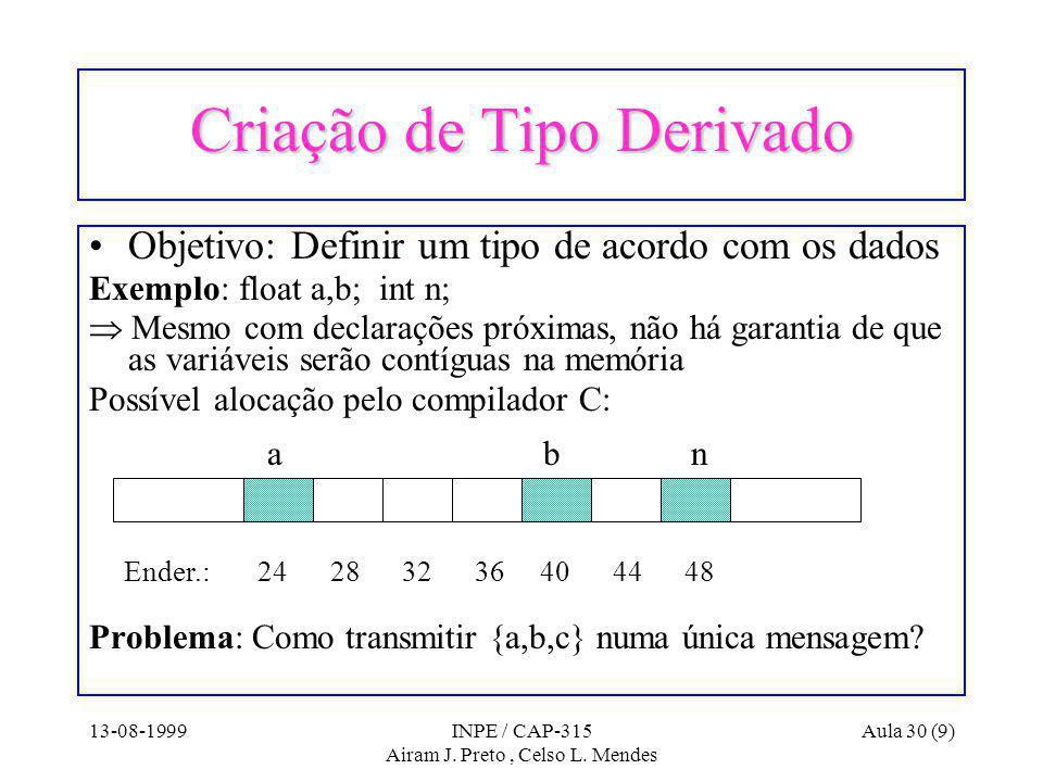 13-08-1999INPE / CAP-315 Airam J. Preto, Celso L.