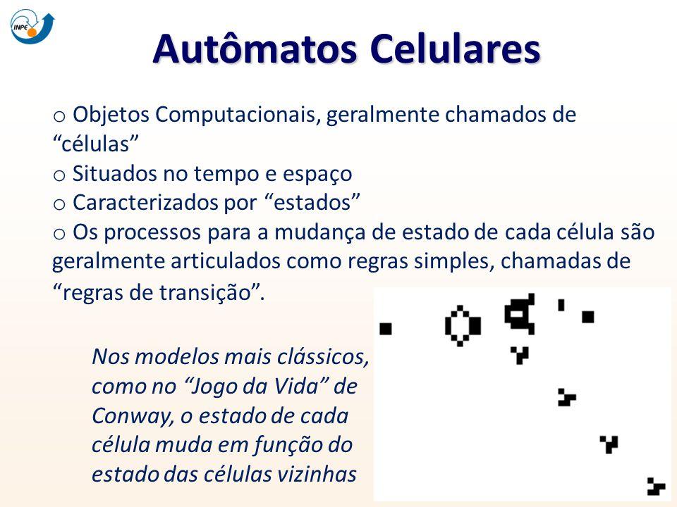 Autômatos Celulares o Objetos Computacionais, geralmente chamados decélulas o Situados no tempo e espaço o Caracterizados por estados o Os processos p