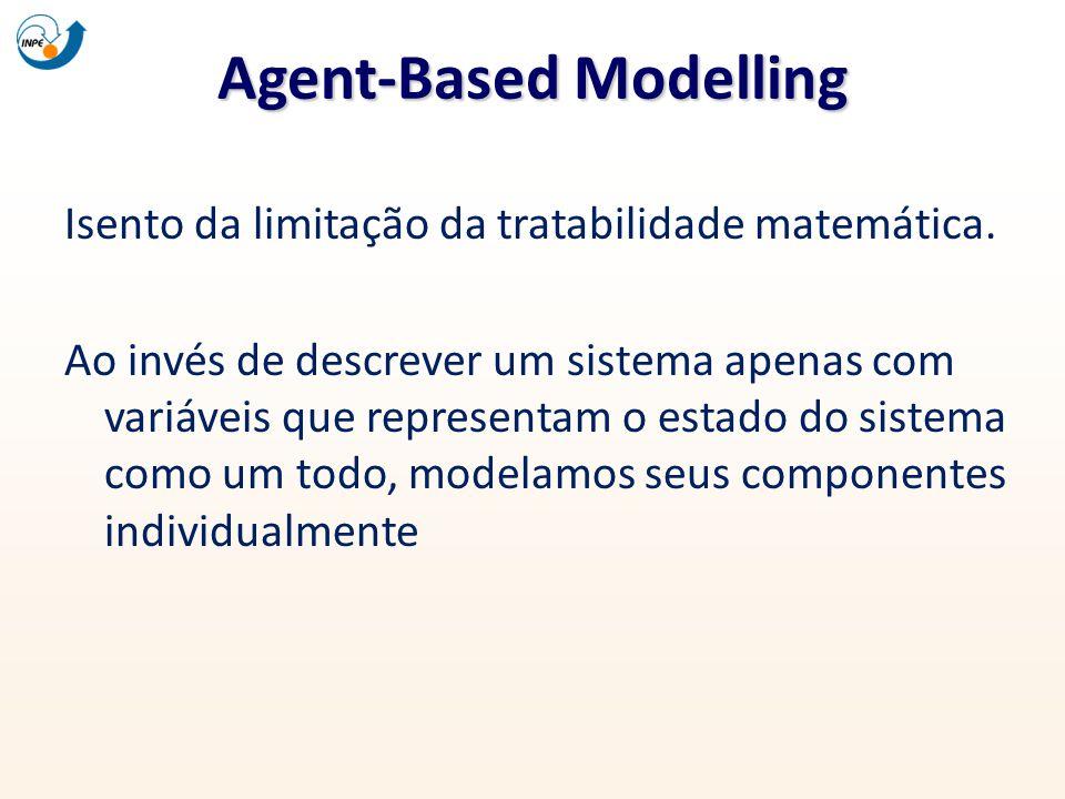 Agent-Based Modelling Isento da limitação da tratabilidade matemática. Ao invés de descrever um sistema apenas com variáveis que representam o estado