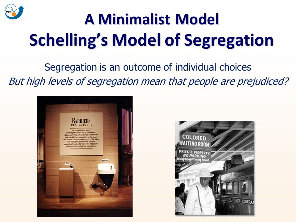 A Minimalist Model Schellings Model of Segregation Segregation is an outcome of individual choices But high levels of segregation mean that people are