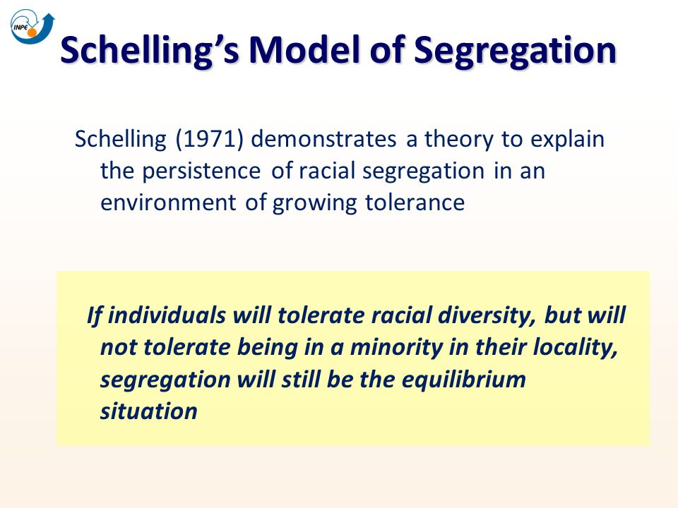 Schellings Model of Segregation Schelling (1971) demonstrates a theory to explain the persistence of racial segregation in an environment of growing t