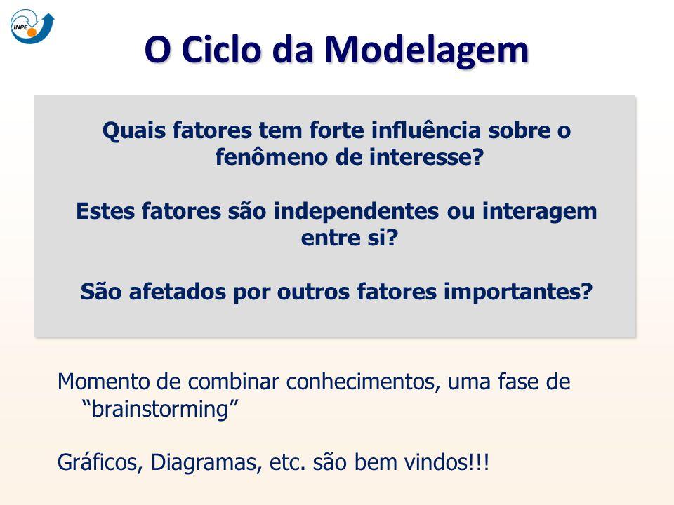 O Ciclo da Modelagem Quais fatores tem forte influência sobre o fenômeno de interesse? Estes fatores são independentes ou interagem entre si? São afet