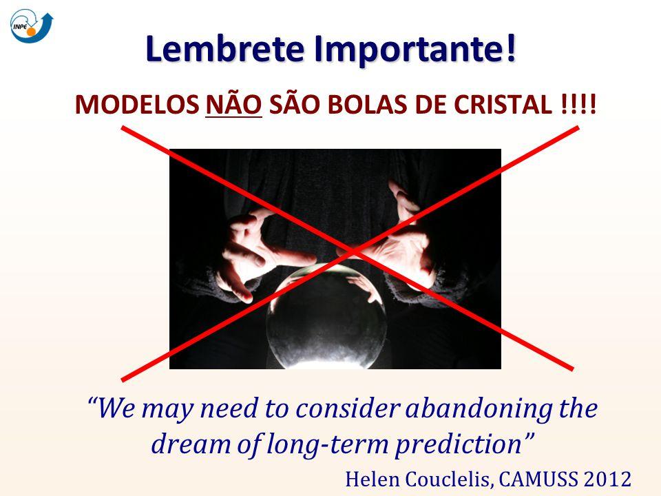 Lembrete Importante! MODELOS NÃO SÃO BOLAS DE CRISTAL !!!! We may need to consider abandoning the dream of long-term prediction Helen Couclelis, CAMUS