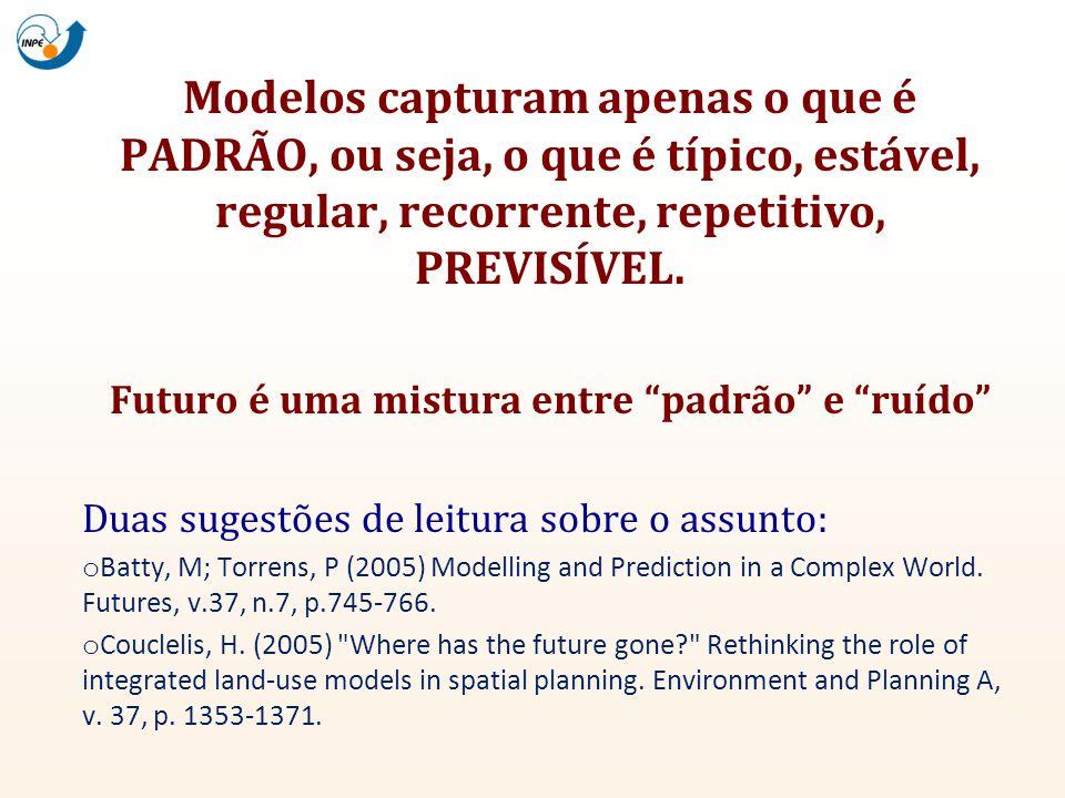 Modelos capturam apenas o que é PADRÃO, ou seja, o que é típico, estável, regular, recorrente, repetitivo, PREVISÍVEL. Futuro é uma mistura entre padr
