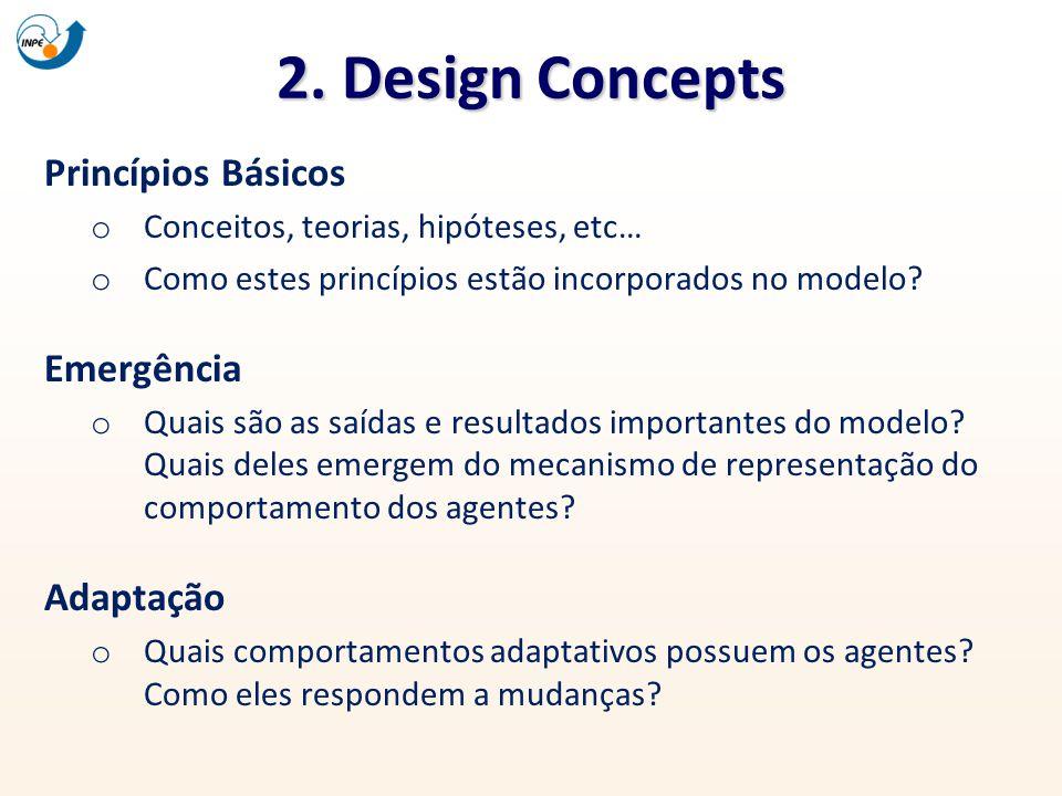 2. Design Concepts Princípios Básicos o Conceitos, teorias, hipóteses, etc… o Como estes princípios estão incorporados no modelo? Emergência o Quais s