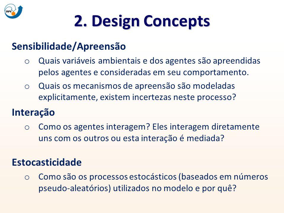 2. Design Concepts Sensibilidade/Apreensão o Quais variáveis ambientais e dos agentes são apreendidas pelos agentes e consideradas em seu comportament