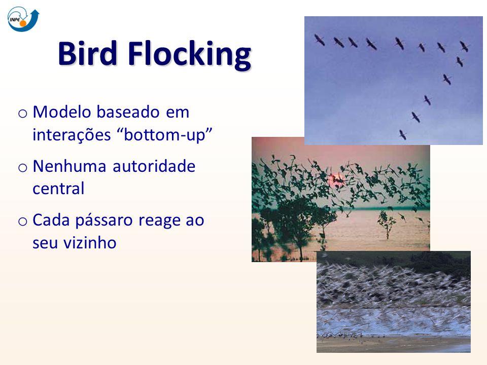 Bird Flocking o Modelo baseado em interações bottom-up o Nenhuma autoridade central o Cada pássaro reage ao seu vizinho