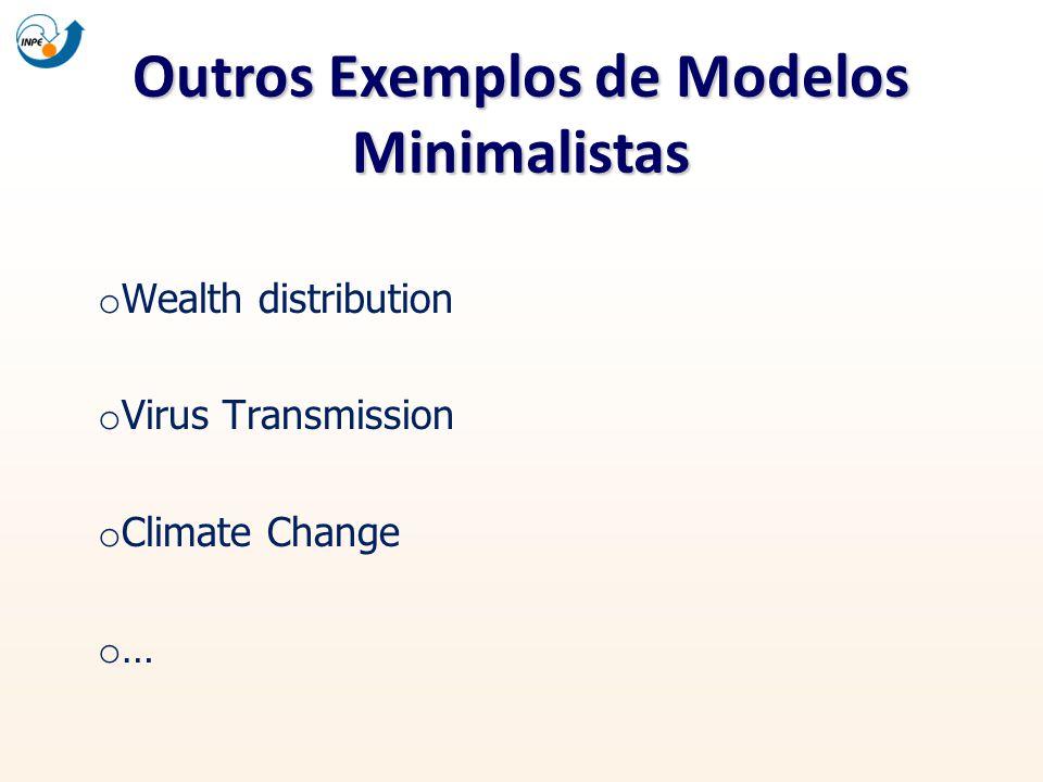 Outros Exemplos de Modelos Minimalistas o Wealth distribution o Virus Transmission o Climate Change o …