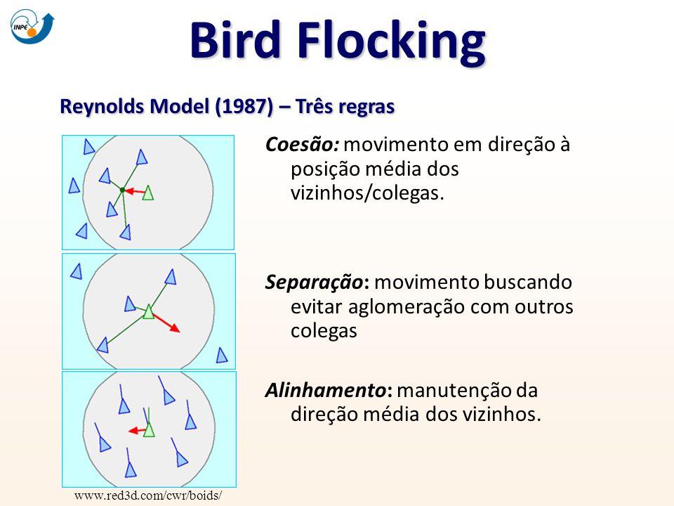 Bird Flocking Reynolds Model (1987) – Três regras www.red3d.com/cwr/boids/ Coesão: movimento em direção à posição média dos vizinhos/colegas. Separaçã