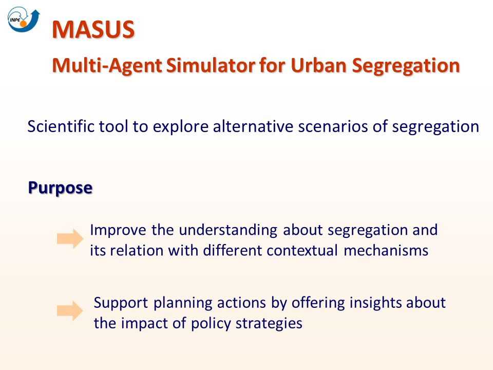 Multi-Agent Simulator for Urban Segregation MASUS Scientific tool to explore alternative scenarios of segregation Support planning actions by offering