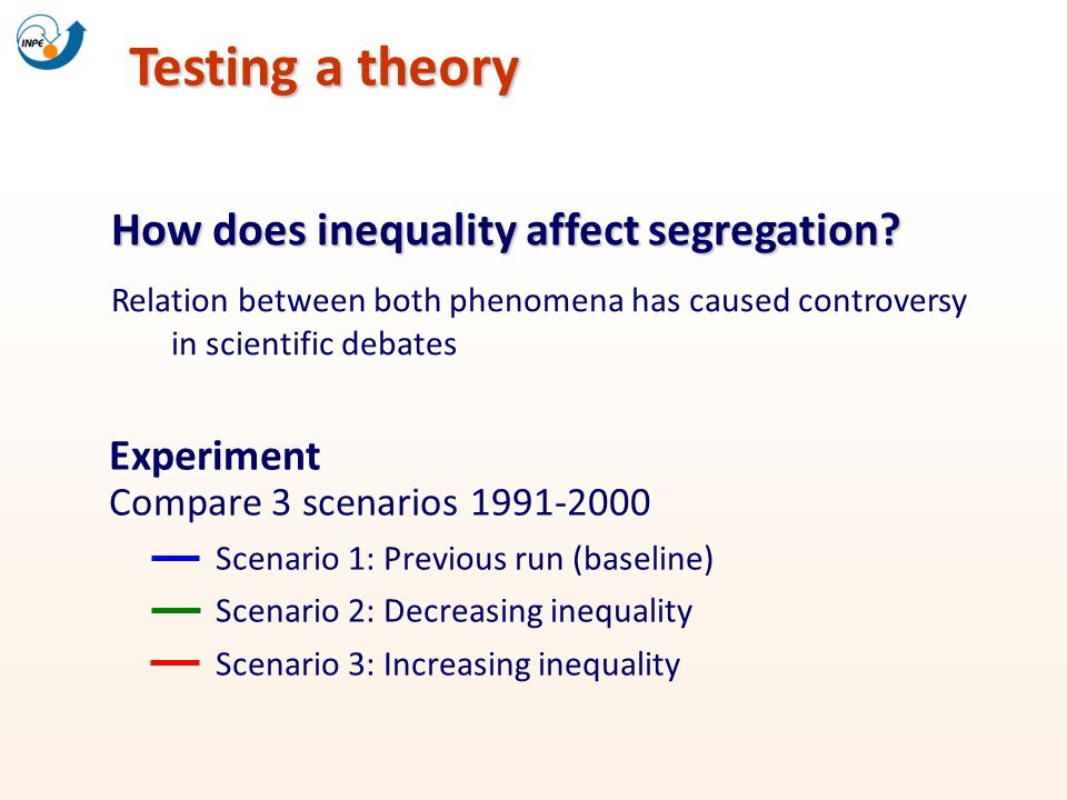 Testing a theory How does inequality affect segregation? Relation between both phenomena has caused controversy in scientific debates Experiment Compa