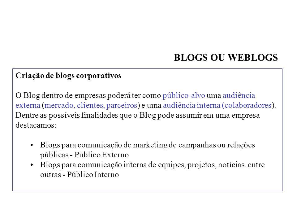 Criação de blogs corporativos O Blog dentro de empresas poderá ter como público-alvo uma audiência externa (mercado, clientes, parceiros) e uma audiência interna (colaboradores).