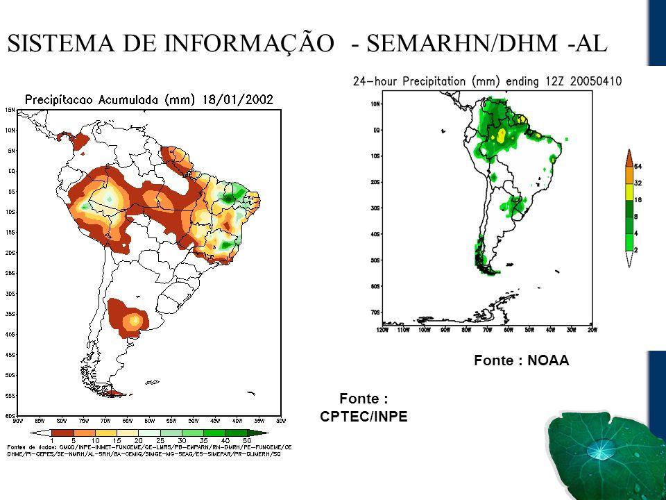 SISTEMA DE INFORMAÇÃO - SEMARHN/DHM -AL Fonte : CPTEC/INPE Fonte : NOAA