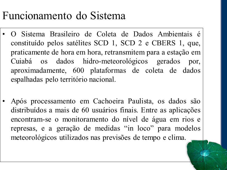 Funcionamento do Sistema O Sistema Brasileiro de Coleta de Dados Ambientais é constituído pelos satélites SCD 1, SCD 2 e CBERS 1, que, praticamente de