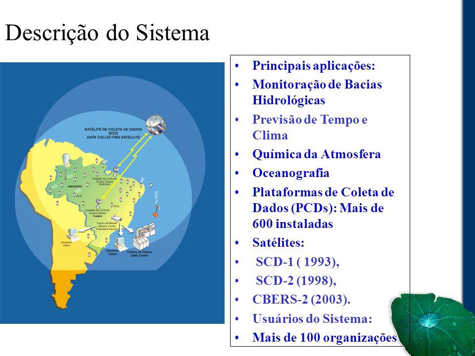 Descrição do Sistema Principais aplicações: Monitoração de Bacias Hidrológicas Previsão de Tempo e Clima Química da Atmosfera Oceanografia Plataformas