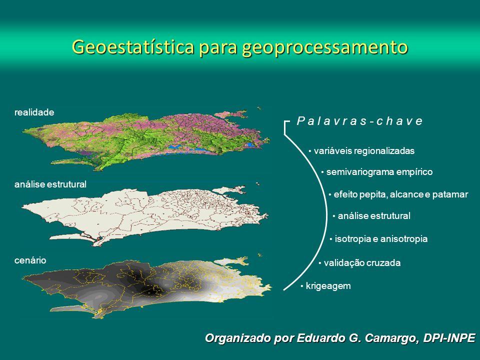 OBJETIVO Apresentar as principais noções básicas de geoestatística para o tratamento de dados geográficos, com exemplos práticos no sistema Sistema de Processamento de Informações Georeferenciadas - SPRING.