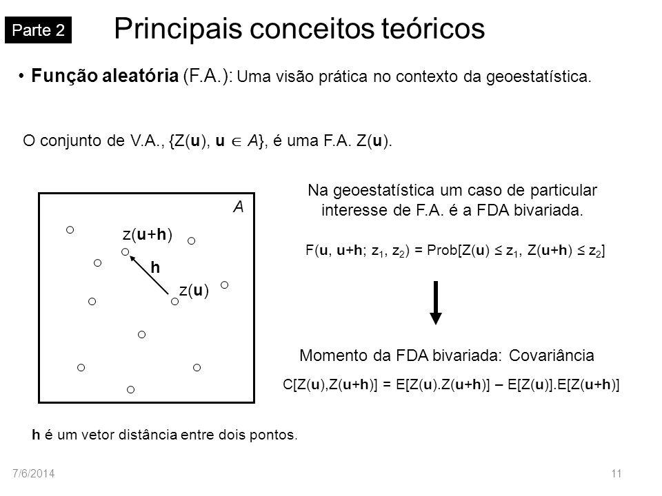 Principais conceitos teóricos Parte 2 z(u) A h é um vetor distância entre dois pontos. z(u+h) h Na geoestatística um caso de particular interesse de F