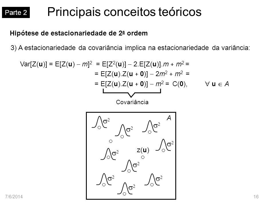 Principais conceitos teóricos Parte 2 Hipótese de estacionariedade de 2 a ordem 3) A estacionariedade da covariância implica na estacionariedade da va