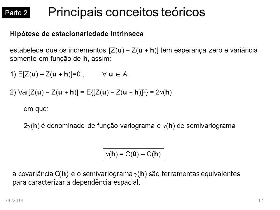 Principais conceitos teóricos Parte 2 Hipótese de estacionariedade intrínseca 1) E[Z(u) Z(u h)]=0, u A. 2) Var[Z(u) Z(u h)] = E{[Z(u) Z(u h)] 2 } = 2