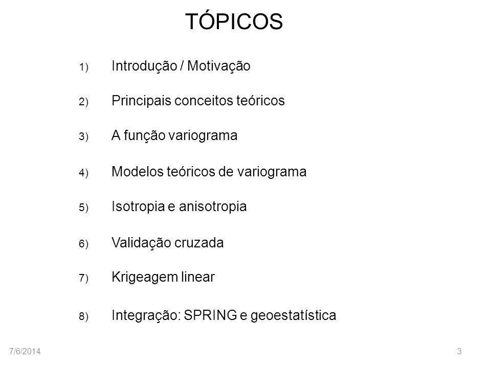 TÓPICOS 1) Introdução / Motivação 2) Principais conceitos teóricos 3) A função variograma 4) Modelos teóricos de variograma 5) Isotropia e anisotropia