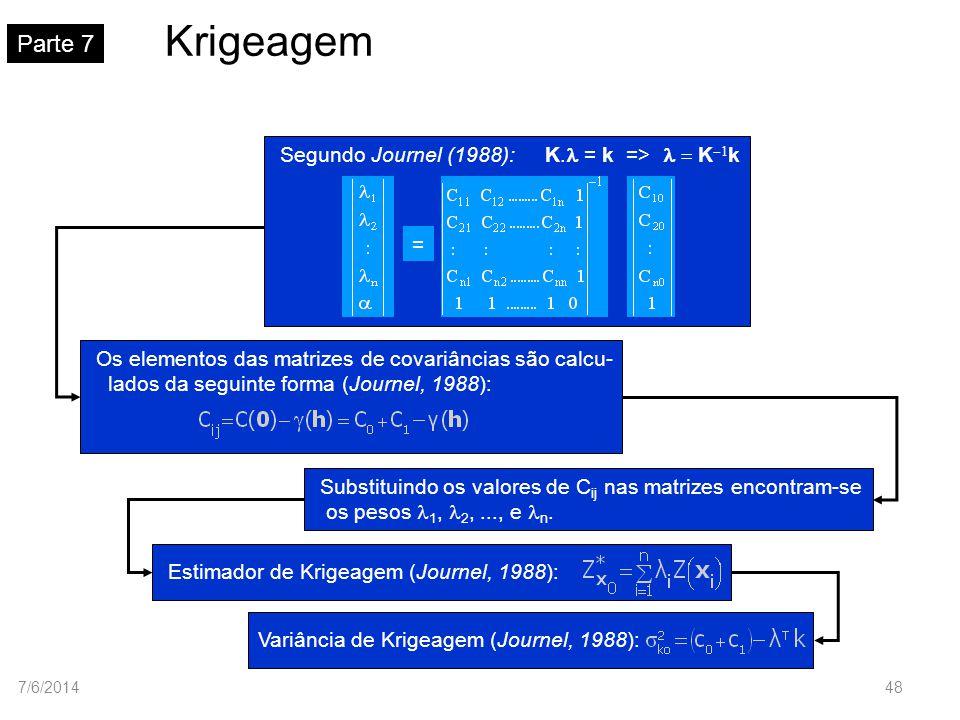 Krigeagem Parte 7 Segundo Journel (1988): K. = k => K k = Substituindo os valores de C ij nas matrizes encontram-se os pesos 1, 2,..., e n. Estimador