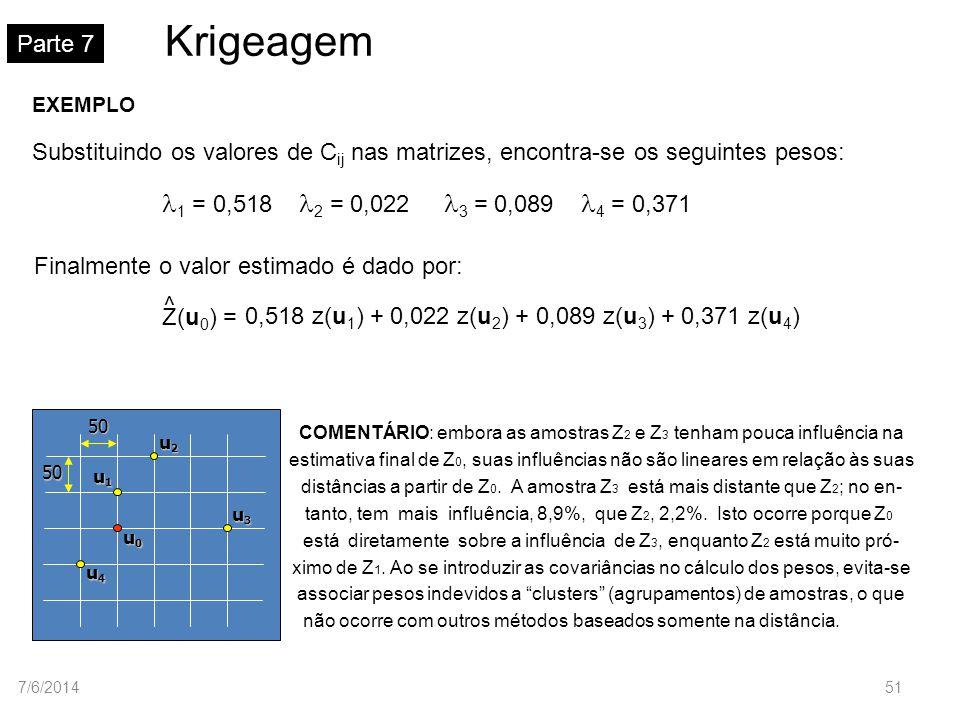 Krigeagem Parte 75050 u1u1u1u1 u2u2u2u2 u3u3u3u3 u4u4u4u4 u0u0u0u0 EXEMPLO Substituindo os valores de C ij nas matrizes, encontra-se os seguintes peso