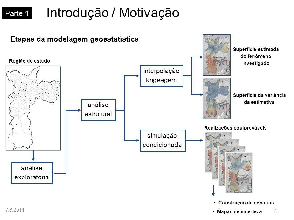 Modelos teóricos de semivariograma Parte 4 Modelo de ajuste esférico Sph(h) h a 1 0 C = 1 C0C0 h (h) C1C1 C C 0 C 1 a Normalizado Na prática: C 0 > 0 e C 1 > 1 7/6/201428