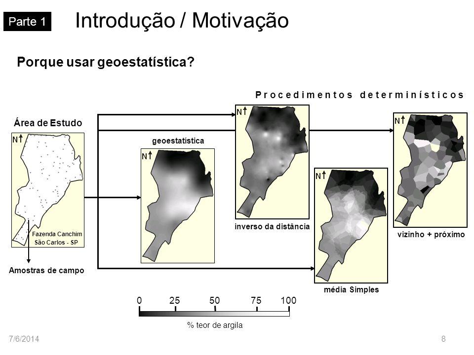 Modelos teóricos de semivariograma Parte 4 Modelo de ajuste gaussiano Normalizado Na prática: C 0 > 0 e C 1 > 1 Gau(h) h a 1 0 C 1 C0C0 h a (h) C1C1 C C 0 C 1 7/6/201429